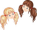 Little girl faces blonde and brunette Royalty Free Stock Images