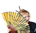 Little girl with fan Stock Photo