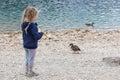 Little girl feeding ducks at Black Lake in Royalty Free Stock Photo