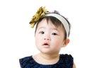 Little girl feeling hesitate isolated on white Stock Image