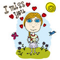 Little girl with flower. Text - I miss you. Royalty Free Stock Photography