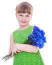 Little girl of flowers beauty child holding bunch isolated on white background Stock Photo