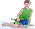 Little girl of flowers beauty child holding bunch isolated on white background Royalty Free Stock Images
