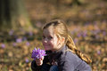 Little girl with flowers sweet spring bouquet Royalty Free Stock Images