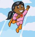 Little girl flying cartoon of a cute Stock Photo