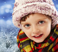 Little girl four years old - winter time Stock Photo