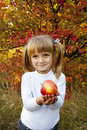 Little girl with fresh vegetables in garden Royalty Free Stock Photos