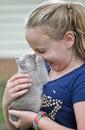 Poco chica obtener morder en nariz nuevo gatito