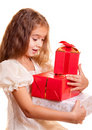 Little girl and gift Stock Photos