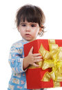 The little girl with a gift Royalty Free Stock Photo