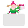 Little girl with a gift box illustration of on white background Stock Image
