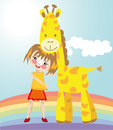 Little girl and giraffe vector graphic image with funny her fiend Royalty Free Stock Photo