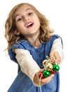 Little girl giving christmas decorations beads beautiful isolated on white Royalty Free Stock Photo