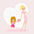 Little girl giving flowers to mom mother s day illustration Stock Photos