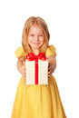 Little girl giving a gift holiday concept selective focus on box with ready for your text or symbol isolated on white Stock Photos