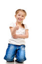 Little girl giving a thumb up on a white background Royalty Free Stock Photo