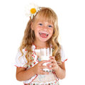 Little girl with glass of milk Royalty Free Stock Images