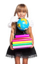 Little girl with globe books and of the world isolated on white background Royalty Free Stock Photos