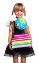 Little girl with globe happy books and of the world isolated on white background Royalty Free Stock Photos