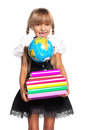 Little girl with globe happy books and of the world isolated on white background Royalty Free Stock Images