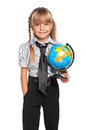 Little girl with globe of the world isolated on white background Royalty Free Stock Photography