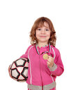 Little girl with golden medal and soccer ball Royalty Free Stock Photo