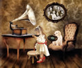 Beautiful woman with gramophone,
