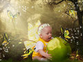 Little girl and green apple Royalty Free Stock Photo