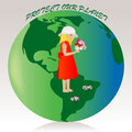 Little girl on the green earth Royalty Free Stock Photo