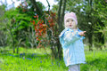 Little girl on green grass in the spring in the park for a walk Stock Image