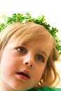 Little Girl with Green Sparkly Clover Crown Royalty Free Stock Photography