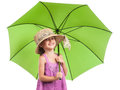 Little girl green umbrella isolated white Royalty Free Stock Photo