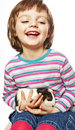 Little girl  with guinea pig Royalty Free Stock Photo
