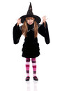 Little girl in halloween costume portrait of black hat isolated on white background Stock Images