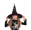 Little girl in halloween costume portrait of black hat isolated on white background Royalty Free Stock Image