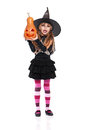 Little girl in halloween costume portrait of black hat with pumpkin isolated on white background Royalty Free Stock Photo