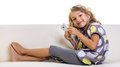 Little girl hands-free headset smiling Royalty Free Stock Photo