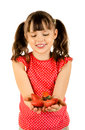 Little girl happy beauty hold strawberries and smile on white background isolated Stock Image