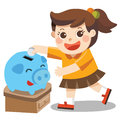 A Little girl happy to saving money in blue piggy bank