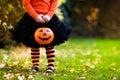 Little girl having fun on Halloween trick or treat Royalty Free Stock Photo