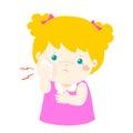 Little girl having toothache cartoon .