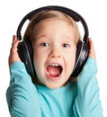 Little girl in headphones Royalty Free Stock Photography