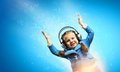 Little girl in headphones cute enjoying music Stock Photography