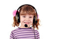 Little girl with headphones portrait Royalty Free Stock Photos