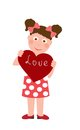Little girl with heart illustration keeps the Royalty Free Stock Photos