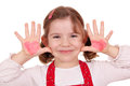 Little girl with hearts on hands Royalty Free Stock Photo
