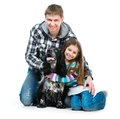 Little girl and heer daddy  with cocker spaniel Royalty Free Stock Photo