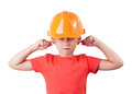 Little girl in a helmet Stock Images