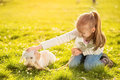 Little girl with her puppy dog caress in the park Royalty Free Stock Photography