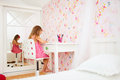 Little girl in her room adorable drawing Royalty Free Stock Photography